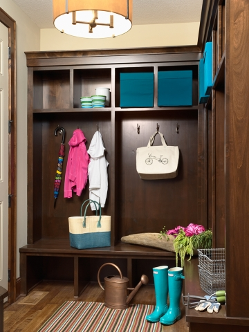 Wooden mudroom with bench