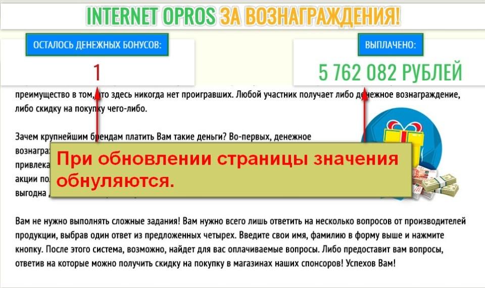 Internet Opros за вознаграждения