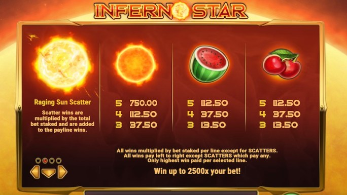 inferno star slot rules