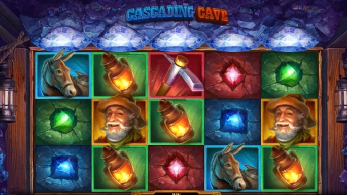 cascading cave slot gameplay