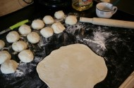 After resting (it doesn't rise - no leavening - separate into balls to roll out.
