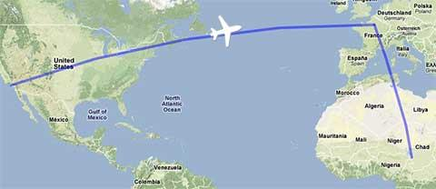 Flight map from Los Angeles to Chad