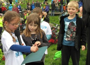 Children address the protesters and politicians at PoP 2014 (photo by Chris Hill).