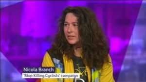 Screenshot of Channel4 interview of Nicola Branch (with SKC title)