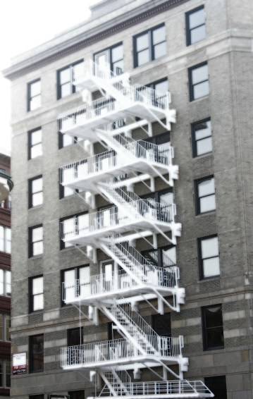 White Fire Escape 2-Downtown Portland Glow