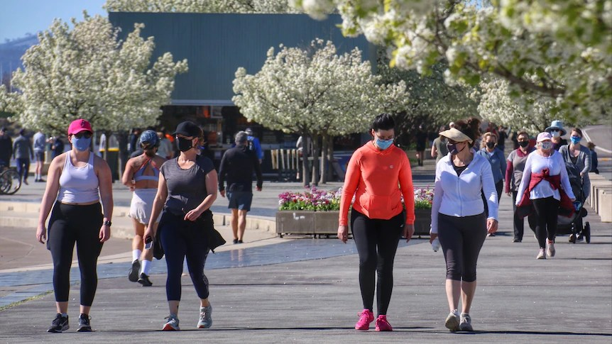 Four women wearing masks walk outdoors on a sunny day