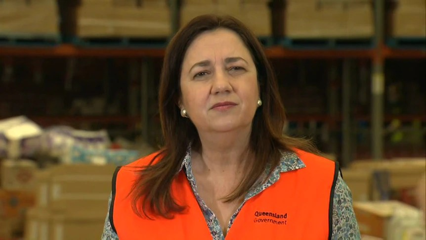 Queensland Premier Annastacia Palaszczuk at press conference in Crestmead factory