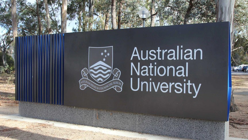 Sign for the Australian National University (ANU) in Canberra.