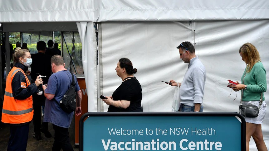 People queue up for vaccinations