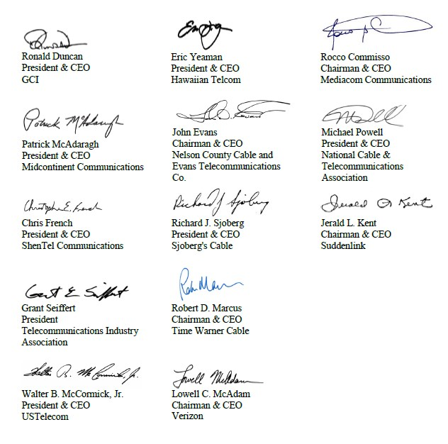 Part of the Problem?: The CEOs that signed the letter.
