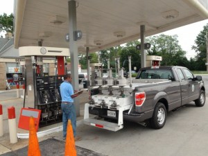 This Maryland gas pump is being verified for accuracy by the Weights & Measures program run by the state government.