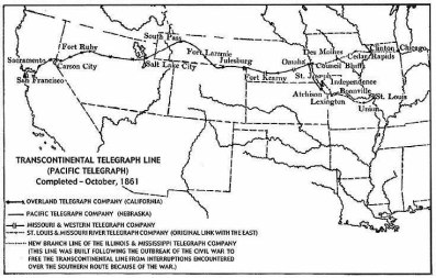 The Pacific Telegraph Act of 1860 resulted in the construction on this telegraph line extending from Nebraska to Nevada.