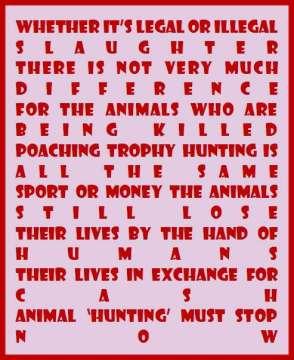 Trophy hunters - Revenge legal or illegal message