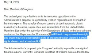 More than 100 Organizations Urge Congress to Reject Proposal to Weaken Gun Export Controls