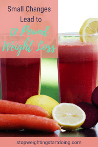 Fruit smoothies surrounded by carrots, lemons, and beets. Small Changes to Lose Weight Lead to 17-Pound Loss | See My Photos!