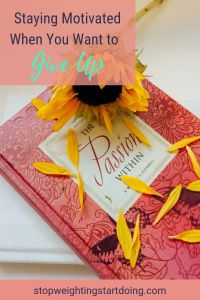 A pink journal titled The Passion Within with a yellow sunflower. Staying motivated when you want to give up.
