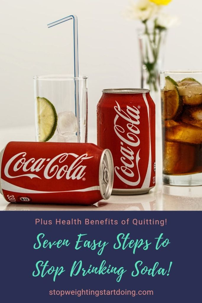Two cans of Coca-Cola on a table with a glass of ice. Seven easy steps to stop drinking soda