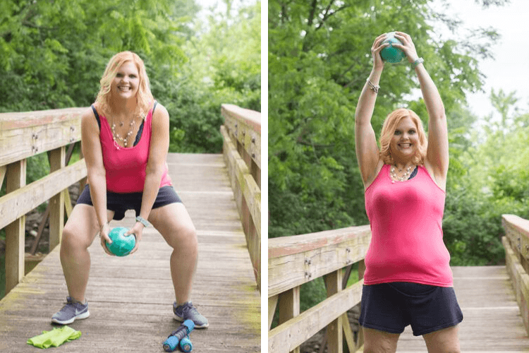 A woman using a weighted ball to squat and then lift. 9 Absolutely Easy Workouts to do Right at Home | Tips for the Budget Bariatric | Featured Image