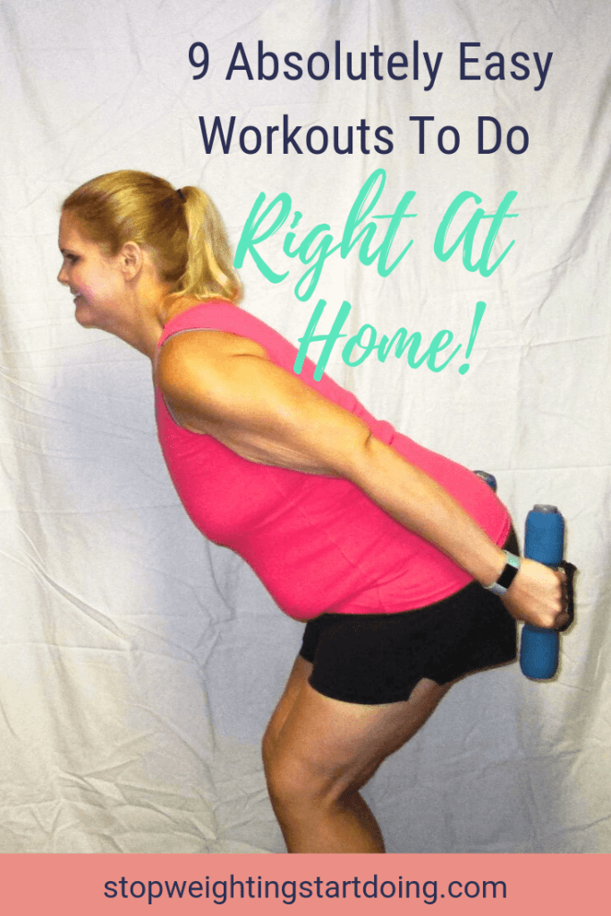 A woman doing tricep kickbacks. 9 Absolutely Easy Workouts to do Right at Home | Tips for the Budget Bariatric | Pinterest Graphic.