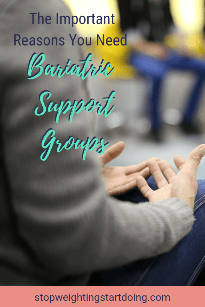 A woman sharing at a support group. The Important Reasons You Need Bariatric Support Groups | Stay Inspired | Pinterest Image