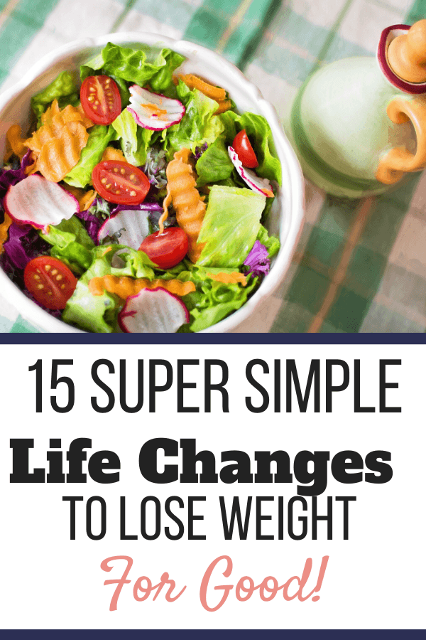 A bowl of salad with mixed vegetables with a side of dressing on a checkered table cloth. 15 Super Simple Life Changes to Lose Weight for Good | Pinterest Graphic02 | easy diet changes to lose weight, simple life changes to help you lose weight, simple life changes to lose weight