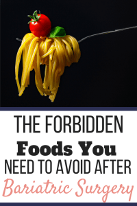 A fork holding pasta with a tomato and basil leaf on top. The Forbidden Foods You Need to Avoid After Bariatric Surgery | 3 Types | Pinterest Graphic02