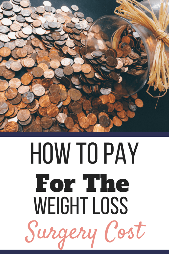 A jar of pennies spilled over a table | How to Pay for the Cost of Weight Loss Surgery | Tips & Tricks to Find Funds | Pinterest Image | sleeve weight loss surgery cost, how much does weight loss surgery cost, gastric sleeve, gastric sleeve cost