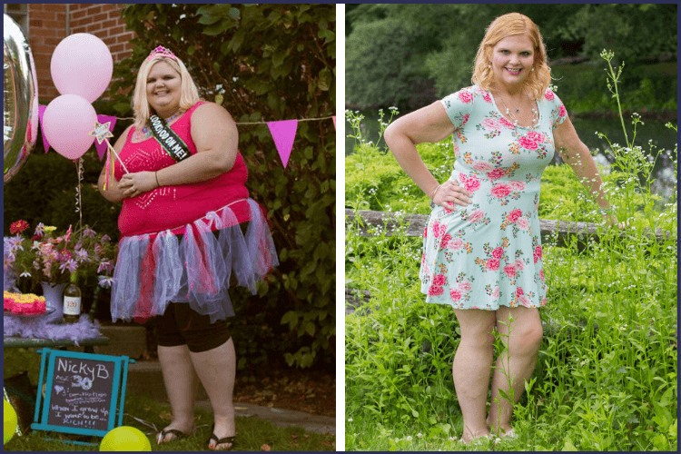 A comparison photo of Nicky Bicksler before and after gastric sleeve. | Gastric Sleeve Before and After: Loving this Crazy Amazing Life! | Featured Graphic | Gastric Sleeve Surgery Before and After, Sleeve Surgery
