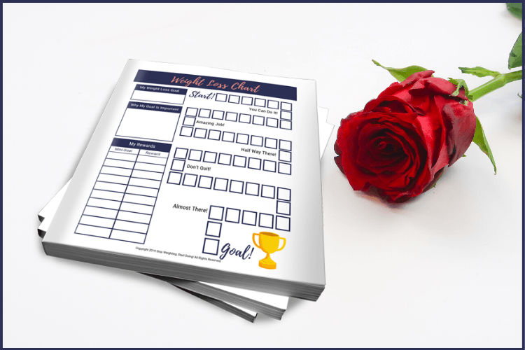 A weight loss coloring chart next to a red rose on a white desk. Weight Loss Coloring Chart: One of the Best Ways to Stay Motivated | WLS | Graphic | weight loss color in chart, weight loss tracker, printable weight loss chart