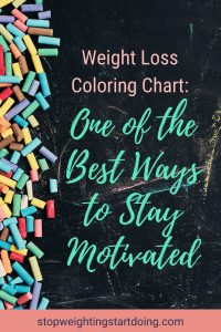 Colored chart lined to the left on a chalkboard slab. Weight Loss Coloring Chart: One of the Best Ways to Stay Motivated | WLS | Graphic | weight loss color in chart, weight loss tracker, printable weight loss chart
