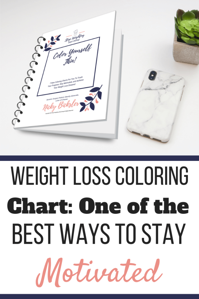A weight loss coloring chart workbook next to a phone and succulent on a desk. | Weight Loss Coloring Chart: One of the Best Ways to Stay Motivated | WLS | Graphic | weight loss color in chart, weight loss tracker, printable weight loss chart