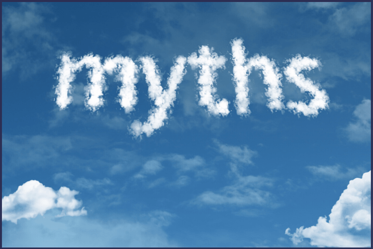 The word myths written in white clouds in a blue sky. | The Behind the Scenes Truth on Bariatric Surgery Myths | Truth Bombs | Graphic | bariatrics, bariatric myths and facts