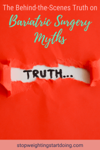A red piece of paper peeled back to reveal the word truth. | The Behind the Scenes Truth on Bariatric Surgery Myths | Truth Bombs | Graphic | bariatrics, bariatric myths and facts