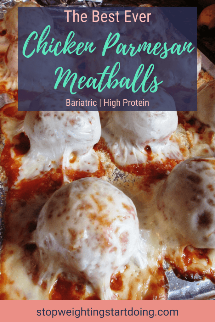 Chicken parmesan meatballs with melted mozzarella on a sheet pan. | The Best Ever Chicken Parmesan Meatballs Recipe | Soft Foods Stage | Featured Image | Chicken Parm Meatballs