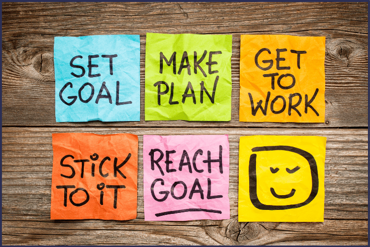 Six sticky notes of different colors with goal setting inspiration written on them. | You Can Become the Person You Want to Be | 6 Steps to Get Started | Image | Act Like the Person You Want to Become