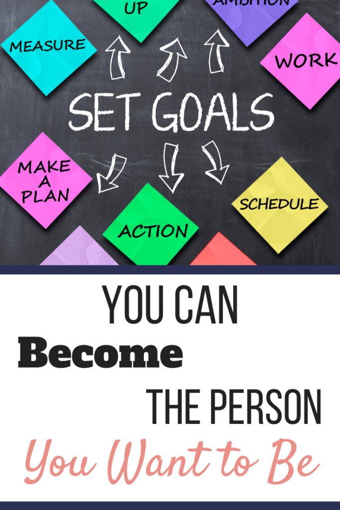 Set Goals written on a chalk board with different colored sticky notes around it. | You Can Become the Person You Want to Be | 6 Steps to Get Started | Image | Act Like the Person You Want to Become