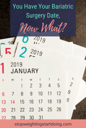 A stack of monthly calendars from 2019 in a pile. | You Have Your Bariatric Surgery Date, Now What? | 9 Steps to Take! | Image | Bariatric Surgery Timeline, Gastric Bypass