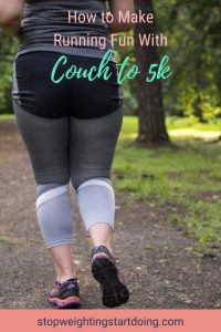 A woman in workout pants and sneakers beginning to run on a wooded path | How to Make Running Fun with Couch to 5k | 7 Easy Ways | Image | make running fun app, enjoy the run, Couch to 5k review