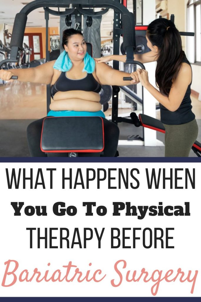 A woman sitting at a butterfly machine with an instructor helping her. What Happens When You Go To Physical Therapy Before Bariatric Surgery | Graphic | bariatric surgery and physical exercise, exercise and weight loss surgery