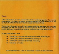 Tandy CPC - Tetris Manual back
