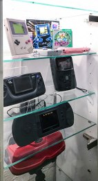 Handhelds on display at Stockholms Gaming museum