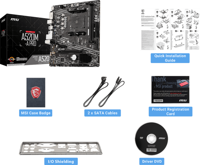 MSI A520M-A PRO package content