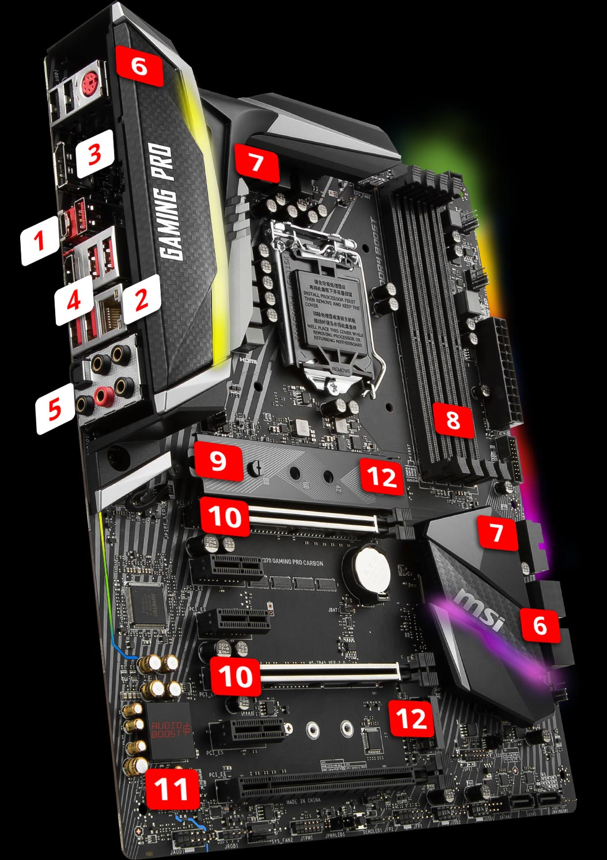 Msi Mpg Z390 Gaming Pro Carbon (lga1151, Z390, Ddr4, Usb3.1, Sata3) (by Wpg) : gaming, carbon, (lga1151,, z390,, ddr4,, usb3.1,, sata3), Gaming, Carbon, Motherboard