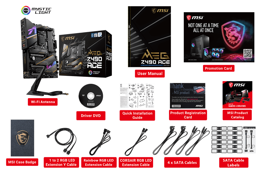 MSI MEG Z490 ACE box content