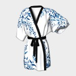 Blue Watercolor Leaves Kimono Robe Kimono Robe By Zeichenbloq Shop Art Of Where