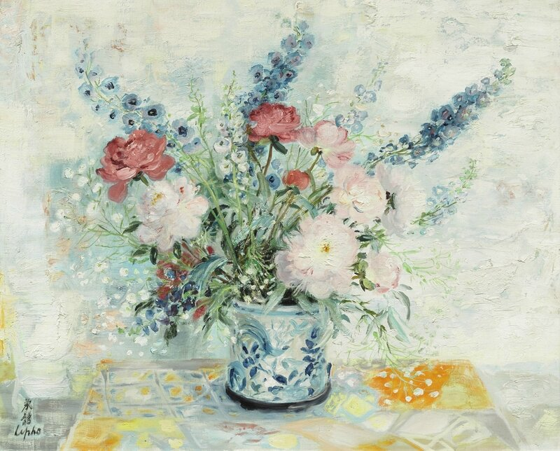 Lê Phổ (1907-2001), Les pivoines roses et rouges (Pink and red peonies)