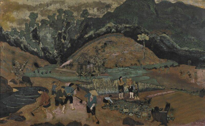 Lê Quốc Lộc (1918-1987), Harvesting, 1958