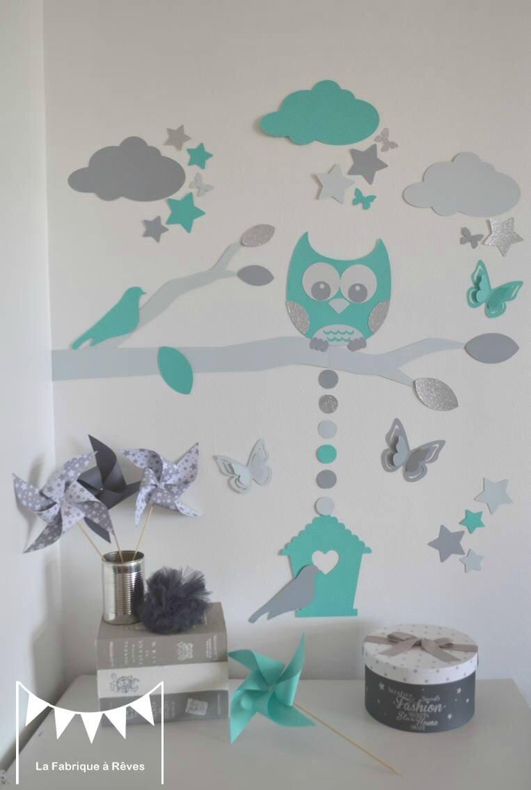stickers dcoration chambre enfant garon bb branche cage  oiseau hibou oiseaux toiles gris