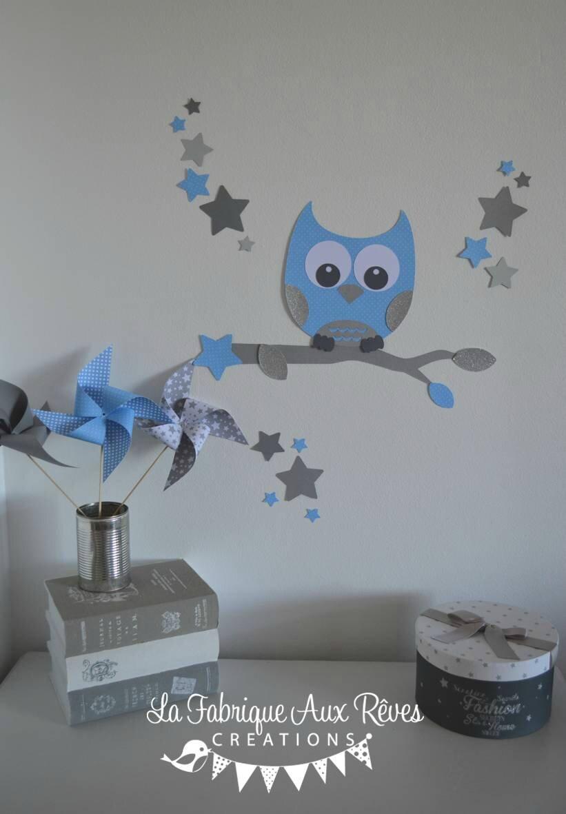 stickers dcoration chambre enfant garon bb branche cage  oiseau hibou oiseaux toiles bleu