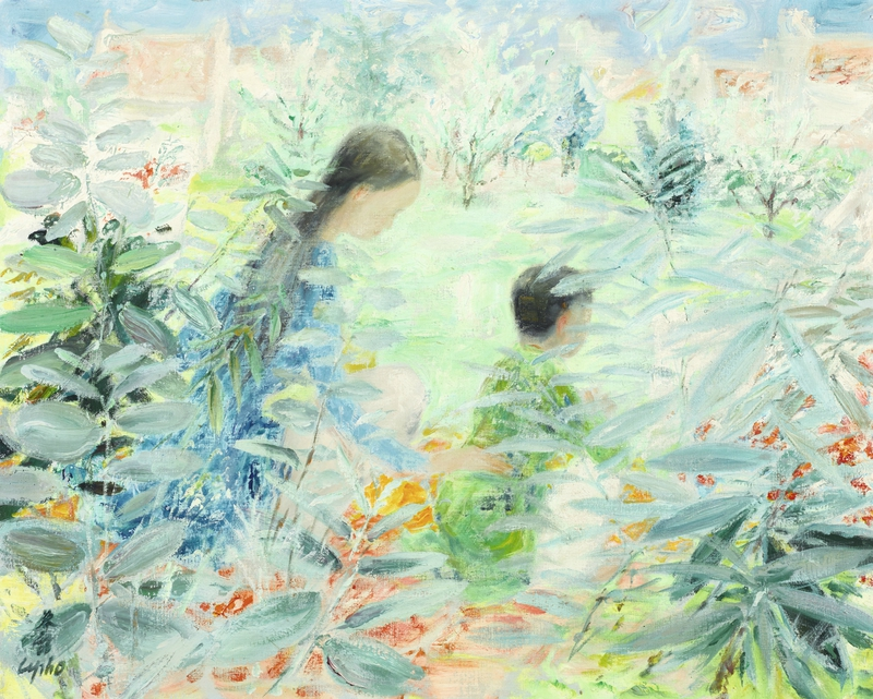 Phổ (1907-2001), Mother and child in a garden